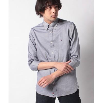 【トミーヒルフィガー】 3/4スリーブドビーシャツ メンズ グレー S TOMMY HILFIGER