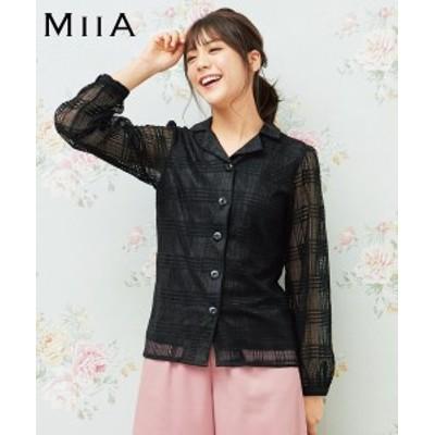 大きいサイズ レディース シースルー チェック シャツ MIIA  サックス/黒 L/LL/3L ニッセン
