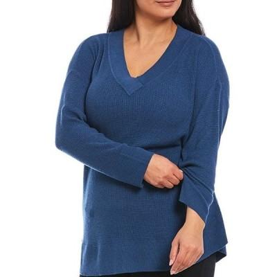 ウエストバウンド レディース パーカー・スウェット アウター Plus Size Solid V-Neck Long Sleeve Waffle Stitch Sweater