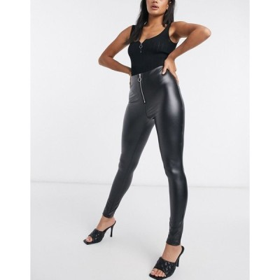 パリジャン レディース レギンス ボトムス Parisian faux leather leggings with ring zip pull in black Black
