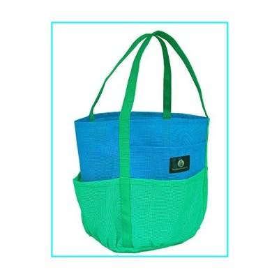 Brt Blue & Green Dolphin Bag, Medium Mesh Beach Bag Tote, 7 pkts, zip pkt