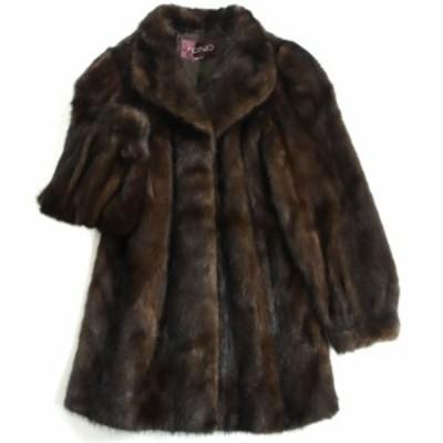 毛並み極美品▼FOND MOONBAT MINK ムーンバット ミンク 裏地ロゴ柄 本毛皮コート ブラウン 毛質艶やか・柔らか◎