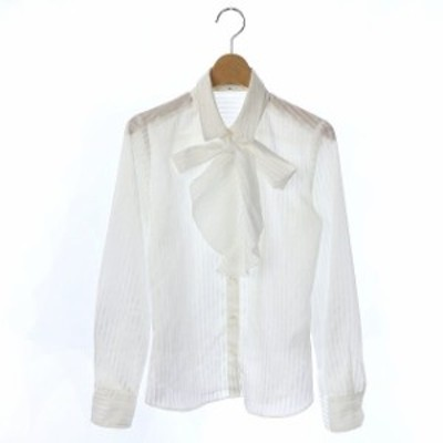 【中古】ナラカミーチェ NARA CAMICIE 17SS シャツ ストライプ柄 長袖 0 白 /KN レディース