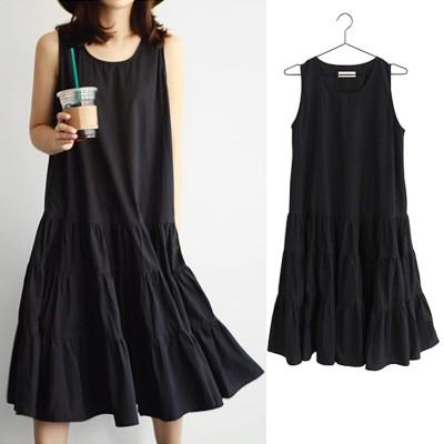 韓国ファッションノースリーブ森ガール文学とアートロングケーキドレスドレスベースキャミソールロングスカート サマードレープドールスカート