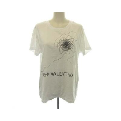 【中古】レッド ヴァレンティノ RED VALENTINO 19SS Tシャツ カットソー 半袖 プリント コットン M 白 ホワイト /KH レディース 【ベクトル 古着】