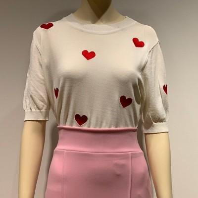 ハート 刺繍 サマーニット ニットトップス 半袖 トップス レディース きれいめ おしゃれ かわいい 大人 女性 20代 30代 40代 50代 ファッション