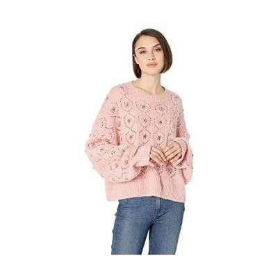 The Kooples Women's Women's Embroidered Crewneck Sweater, Pink, 3並行輸入品 送料無料