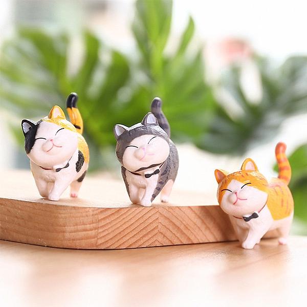 【BlueCat】可愛瞇眼貓 翹尾巴 悠閒散步 樹脂 擺飾