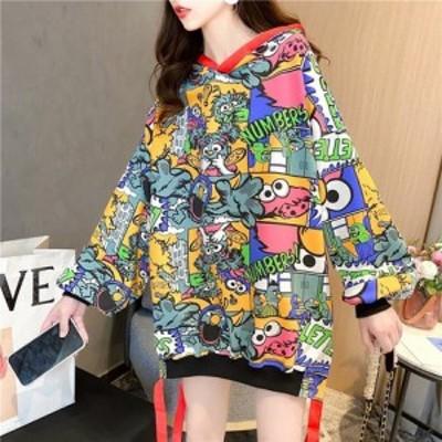 大きいサイズ レディース おしゃれ 大人 かわいい秋冬新作 韓国 マンガプリント ファッション パーカー LL- 4L || アパレル ファッション