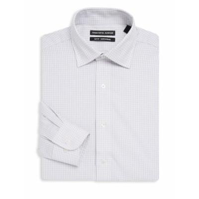 サックスフィフスアベニュー Men Clothing Slim-Fit Gingham Cotton Dress Shirt
