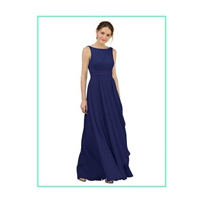 Alicepub Boat Neck Long Bridesmaid Dresses Chiffon Formal Party Evening Dress for Women, Royal Blue, US8並行輸入品