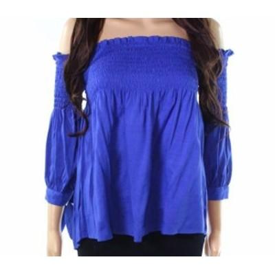 ファッション トップス Favlux NEW Blue Womens Size Medium M Smocked Tie-Sleeve Knit Top