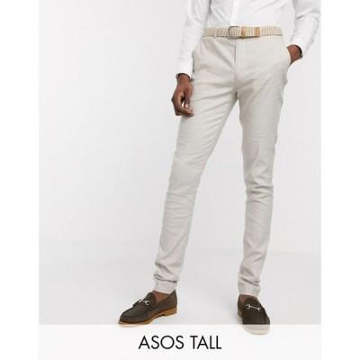 エイソス ASOS DESIGN メンズ スラックス ボトムス・パンツ Tall wedding super skinny suit trousers in stretch cotton linen in stone ベージュ