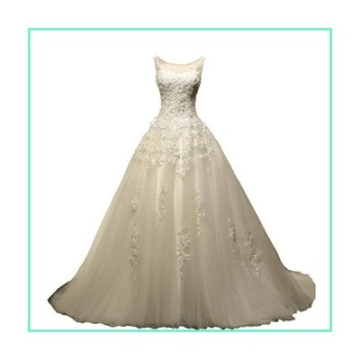 VIVIANSBRIDAL Women's A-Line Dress for Bride Sleeveless Tulle Ball Gown Chapel Wedding Dresses with Train Ivory 16並行輸入品