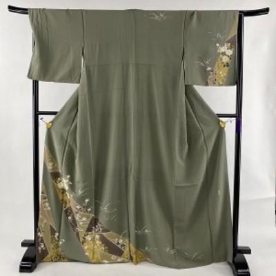 訪問着 美品 秀品 落款 草花 流水 金彩 縮緬 灰緑 袷 身丈168cm 裄丈67.5cm L 正絹 中古