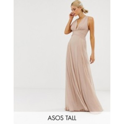 エイソス レディース ワンピース トップス ASOS DESIGN Tall Bridesmaid ruched bodice drape maxi dress with wrap waist Blush