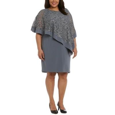 アールアンドエムリチャーズ ワンピース トップス レディース Plus Size Sequined Poncho Dress Charcoal Gray