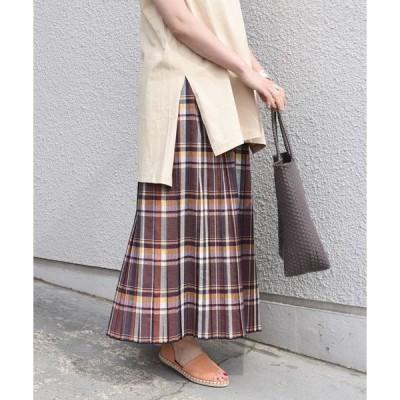 スカート SHIPS any:チェックプリーツスカート