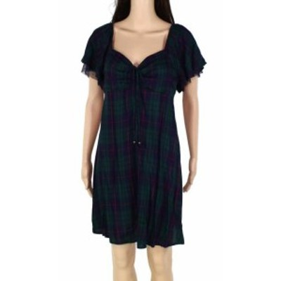 Plaid  ファッション ドレス Charmed Hearts Womens Dress Green Large L Shift Ruffle Tie Front Plaid