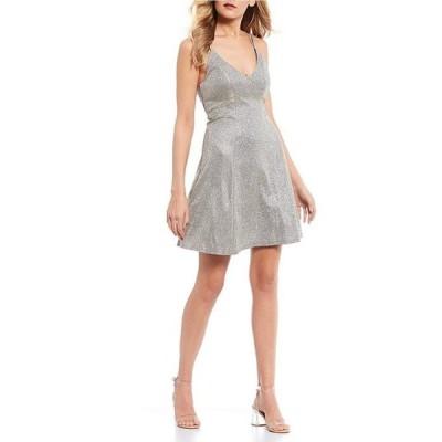 シークインハーツ レディース ワンピース トップス Double Spaghetti Strap Iridescent Shimmer Fit-and-Flare Dress