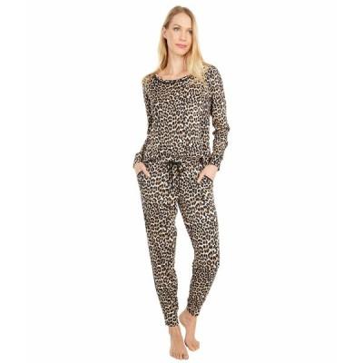 ケイト スペード ナイトウェア アンダーウェア レディース Brushed Sweater Knit Long Sleeve Tee Joggers Pajama Set Small Classic Leopard