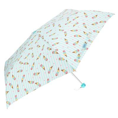 ノーブランド No Brand アテイン ATTAIN 女児軽量ミニポンジー 折りたたみ傘55cm (5204アイスクリームサックス)