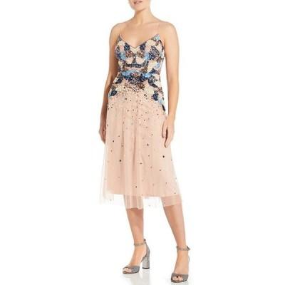 アイダンアイダンマトックス レディース ワンピース トップス Beaded Sequin Mesh Tea Length Dress
