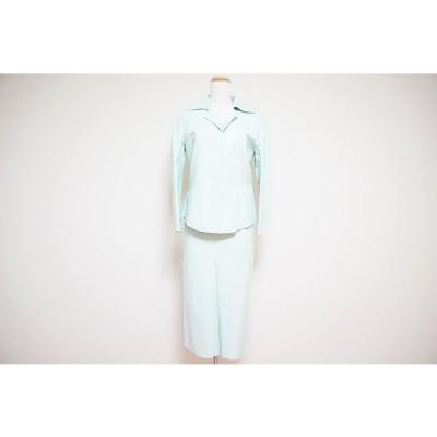#anc ナチュラルビューティースタイル  スカートスーツ セットアップ 9 水色 レザー 牛革 イタリア製 レディース [556171]