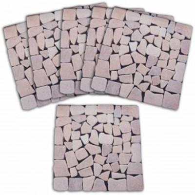 庭 雑草防止 カット可 雑草が生えないおしゃれな天然石マット6枚組ピンク 玄関 リフォーム 天然石 ガーデニング 園芸 敷き詰めるだけ は
