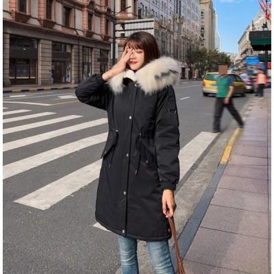 新品 カジュアル 5色 秋冬 ファッション 韓国風 ダウンコート 軽量 中綿 厚手 保温 防風 防寒フード ロングコート レディース ダウンジャケット 着痩せ