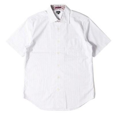 Paul Smith ポールスミス シャツ ストライプ柄 コットン 半袖シャツ ボタン ホワイト×パープル L 【メンズ】【中古】【K2745】