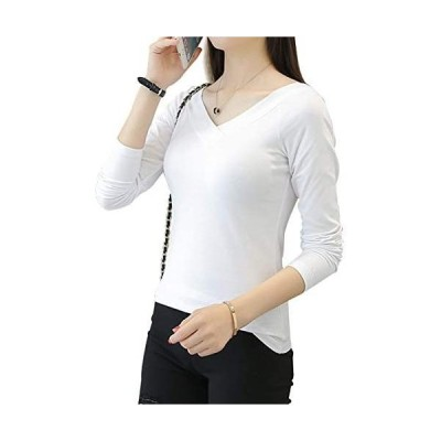 LINGEW レディース Vネック 長袖 トップス カジュアル シンプル コットン Tシャツ カットソー (ホワイト226+長袖 2XL)