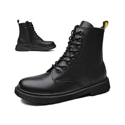 [Hanani] ブーツ メンズ サイドジッパー ハイカット 本革 レディース 軽量 厚底 ブーツ レースアップブーツ ワークブーツ エンジニアブーツ