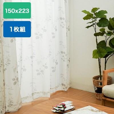 レースカーテン UV遮熱 トリコットリーフレースカーテン 1枚入り 150×223cm web限定 KW TS