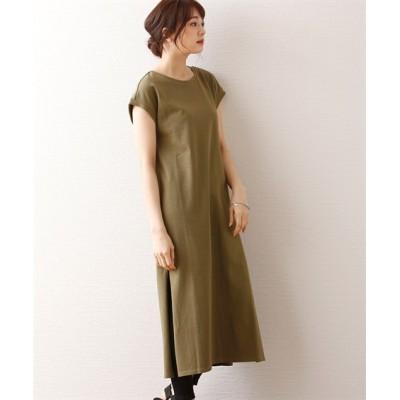 細見えフレンチスリーブ◎しっかり素材のロングワンピース (ワンピース)Dress