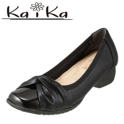 カイカ kaika KA1557 レディース | ラウンドトゥパンプス | ローヒール 歩きやすい | ブラックメタ×ブラックエナメル