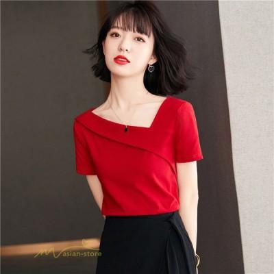 半袖Tシャツ レディースファッション サマーTシャツ トップス 無地 通勤オフィス カジュアル 大きいサイズ 人気 夏コーデ シンプル 大きいサイズ きれいめ