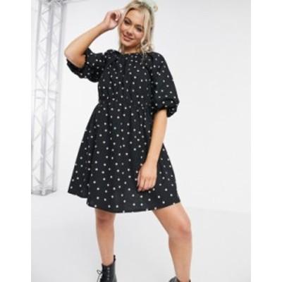 エイソス レディース ワンピース トップス ASOS DESIGN cotton poplin smock mini dress in mono polka dot Black/white spot