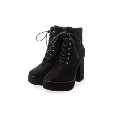Mafmof(マフモフ) BLACKスクエアトゥ厚底 ショートブーツ (ブラック・スエード)