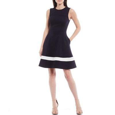 エリザジェイ レディース ワンピース トップス Textured Knit Jewel Neck Sleeveless Stripe Fit & Flare Dress