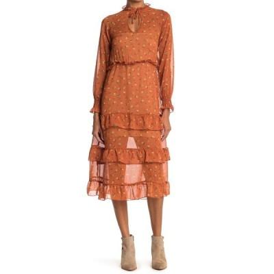 ベルベットトーチ レディース ワンピース トップス Floral Print Tiered Ruffle Chiffon Midi Dress RUST FLORAL
