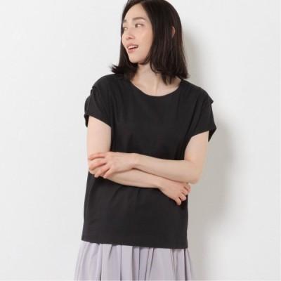 肩タックフレンチスリーブTシャツ ブラック M L