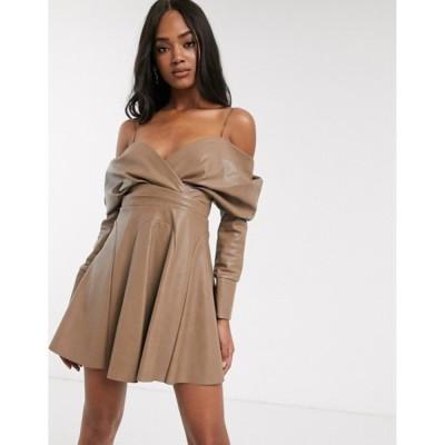 エイソス レディース ワンピース トップス ASOS DESIGN slouchy off shoulder mini dress in pu