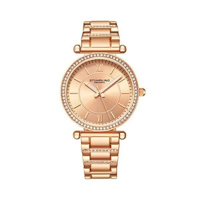 Stuhrling Women's Dress Quartz Watch with Crystal Studded Bezel and Stainle 並行輸入品