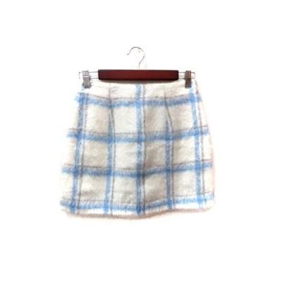 【中古】リエンダ rienda 台形スカート ミニ チェック M 白 ホワイト 青 ブルー /YI レディース 【ベクトル 古着】