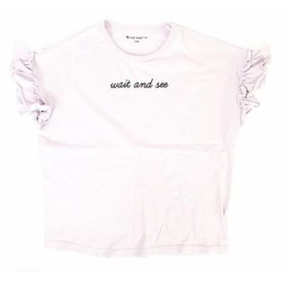 【中古】ザショップティーケー THE SHOP TK Tシャツ カットソー 半袖 フリル ロゴ パープル 130 キッズ
