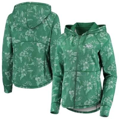トッミーバハマ パーカー・スウェットシャツ アウター レディース New York Jets Tommy Bahama Women's Basta Blossoms Sport Full-Zip Hoodie Green