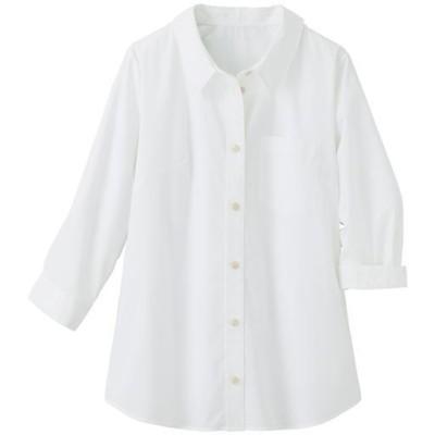 【ぽっちゃりさんサイズ】形態安定レギュラーカラーシャツ(7分袖)(UVカット・抗菌防臭) グラマーさん用サイズ有(胸のサイズで選/オフホワイト/6L