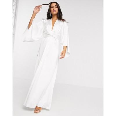 エイソス マキシドレス レディース ASOS EDITION extreme cape sleeve maxi wedding dress in ivory エイソス ASOS