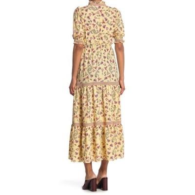 マックスタジオ レディース ワンピース トップス Elbow Length Sleeve Print Tiered Maxi Dress YLWMFCST